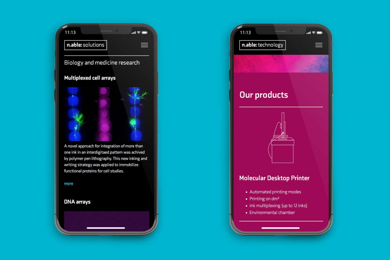 Smartphone mit responsivem Webdesign