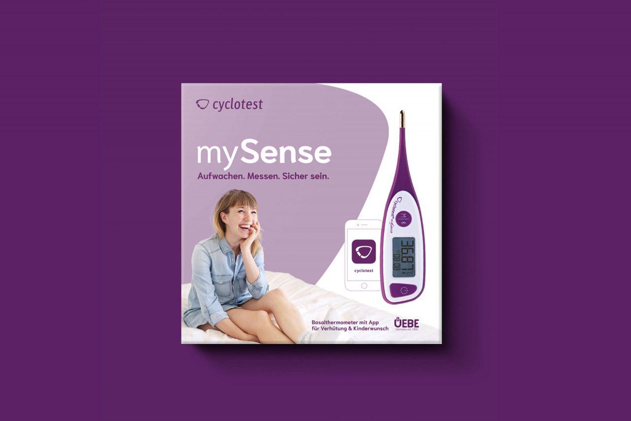 Verpackung für Basalthermometer Cyclotest von Uebe Medical