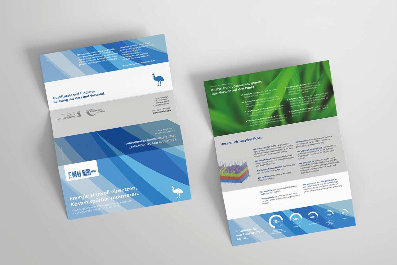 Gestaltung Faltblatt Unternehmenskommunikation